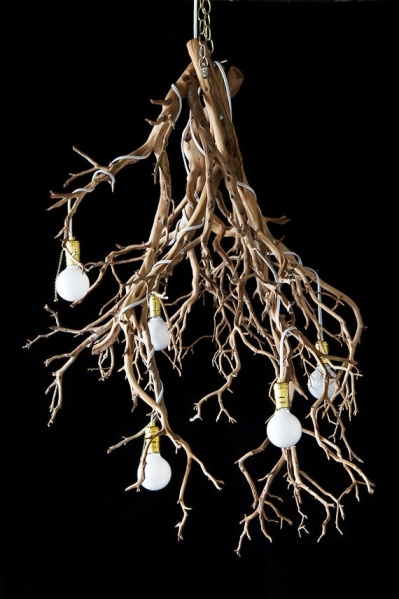 Rustic Tree Branch Chandelier 1
