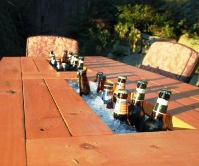 Table with Built In Wine and Beer Cooler 1