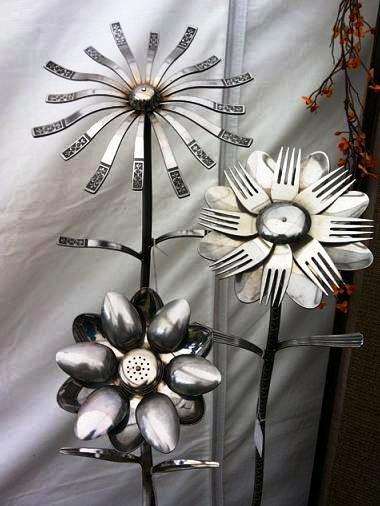Welded Silverware Flowers