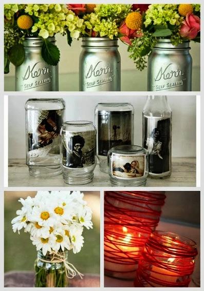 24 Mason Jar Vases, Votives And Photo Holder Ideas