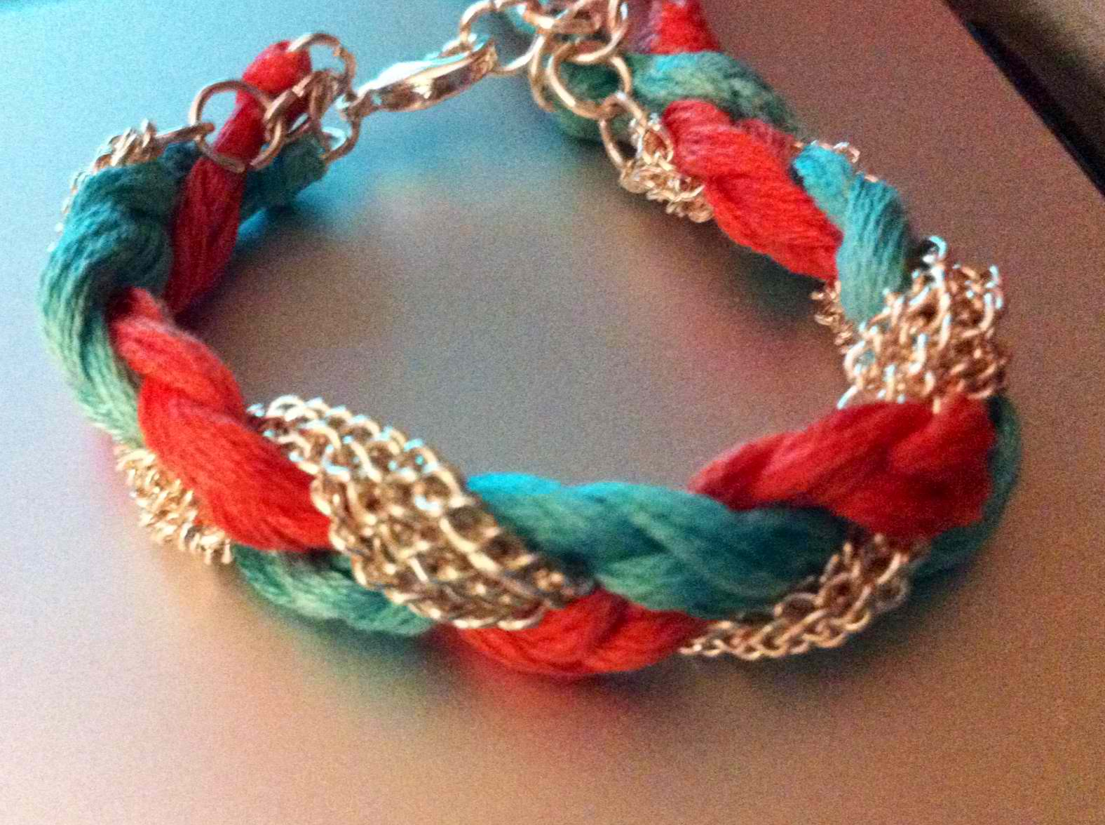 DIY Coral, Sea Green, Rose Chain Bracelet