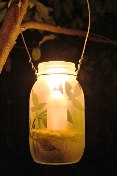 DIY Frosted Garden Lanterns