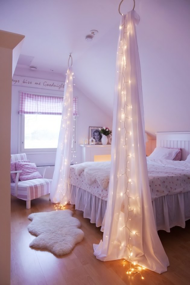 DIY String Light Curtains For Bedroom