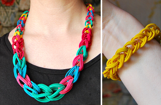 Rubber Band Necklace and Bracelet