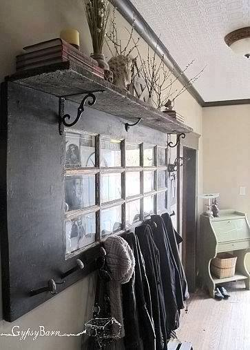 Coat Rack From An Old Door and Shelf