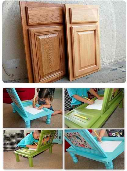 DIY Art Desk For Kids Made From Cupboard Doors