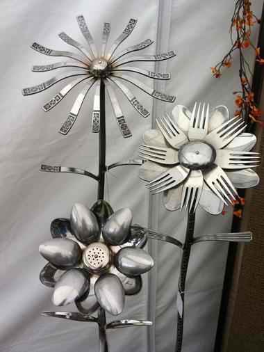 DIY Welded Silverware Garden Flowers