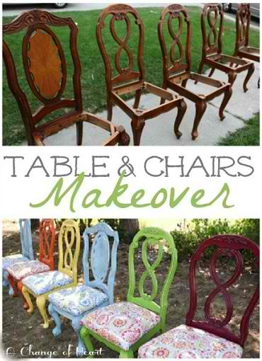 Fun Kitchen Table and Chairs Makeover
