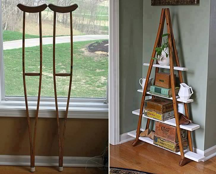 Wood Crutches Into A Book Shelf