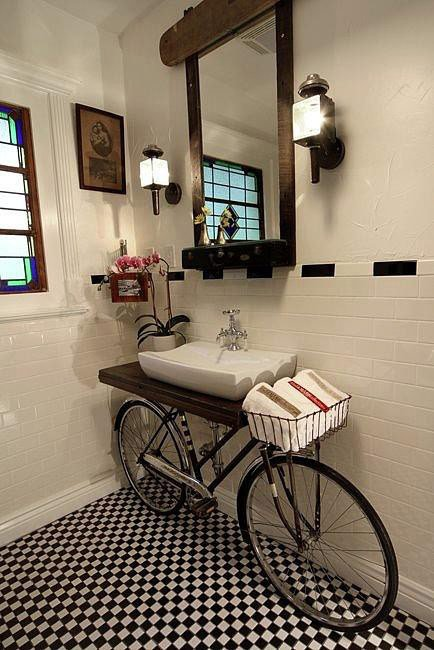 Built-In Bike In A Bathroom