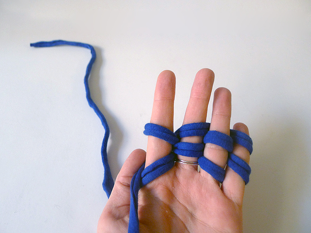 DIY Finger Knit Fabric Bracelet