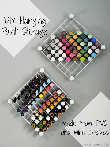 DIY Hanging Paint Storage