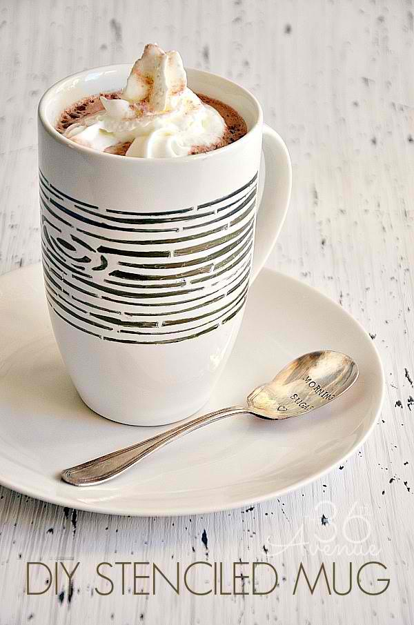 DIY Permanent Marker Stenciled Mug