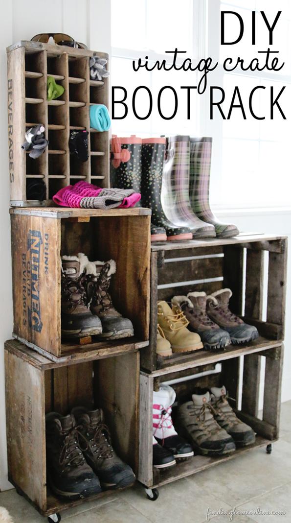 DIY Vintage Crate Boot Rack
