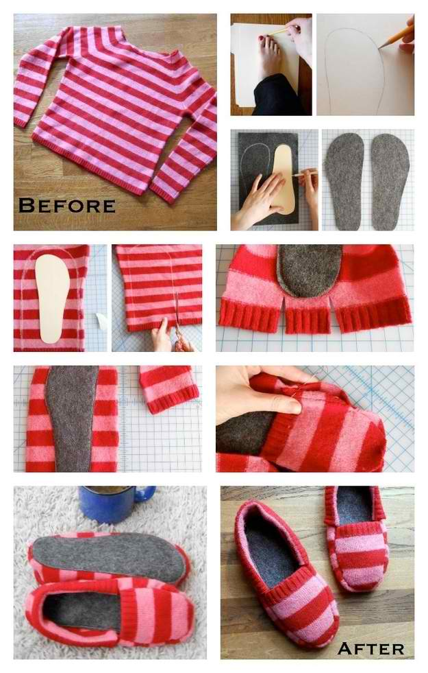 How To Make Cozy Slippers From A Sweater