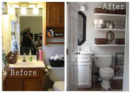 Inspiring before and after bathroom makeover Cheap bathroom remodel before and after