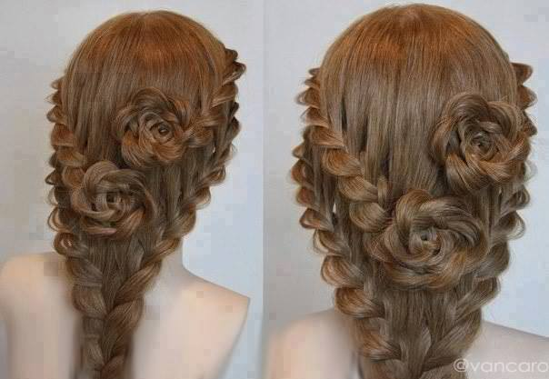 Lace Braid Roses For Long Hair