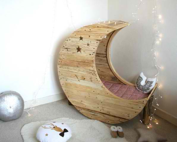 MOON SHAPED BABY CRADLE MADE OUT OF PALLETS