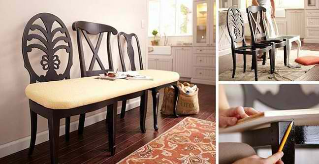 Mismatched Chairs Into Kitchen Bench