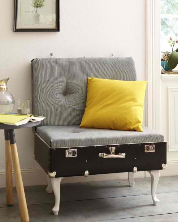 Vintage Suitcase Into DIY Lounge Chair