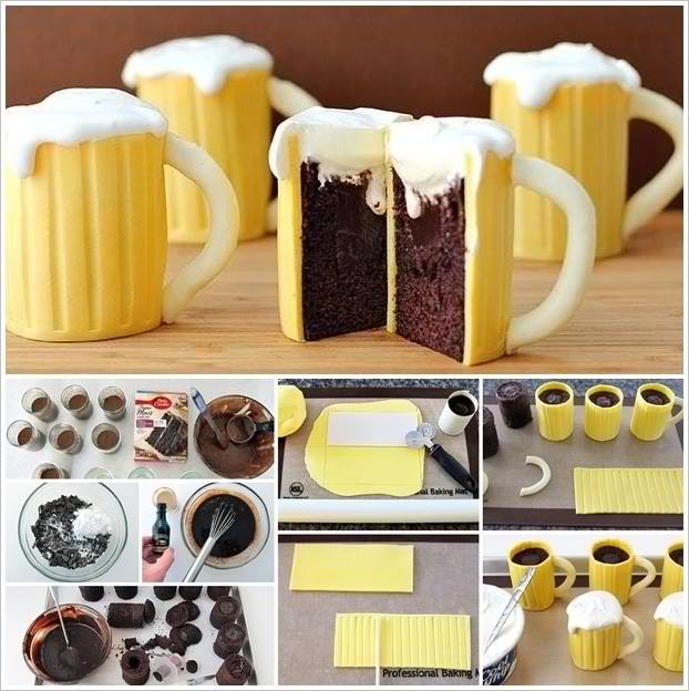 Beer Mug Cupcakes With A Sweet Surprise