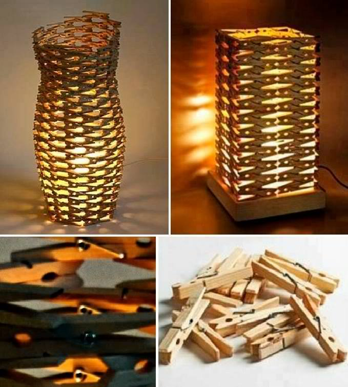 Clothes Pin Lamps by David Olschewski
