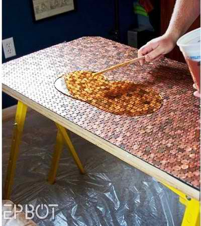 DIY Desk Tiled With Pennies