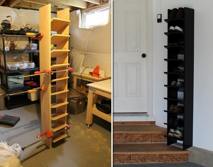 DIY Garage Shoe Organizer