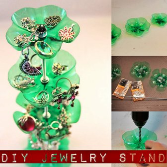 DIY Jewelry Stand from Recycled Bottles