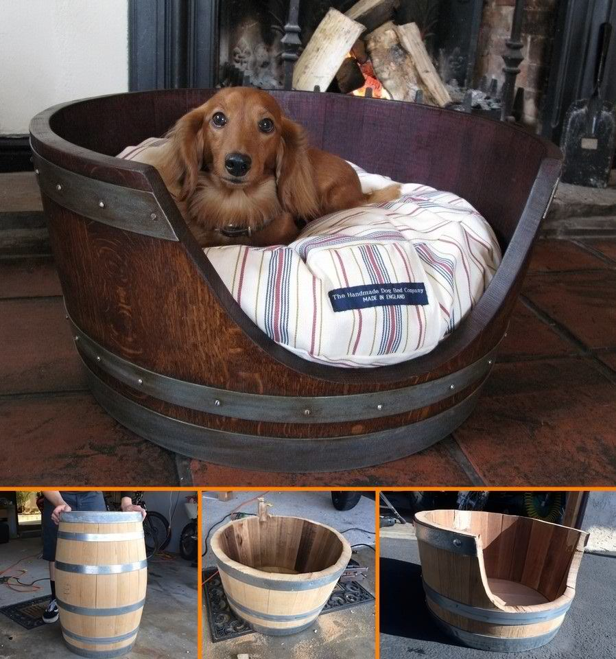 DIY Wine Barrel Dog Bed