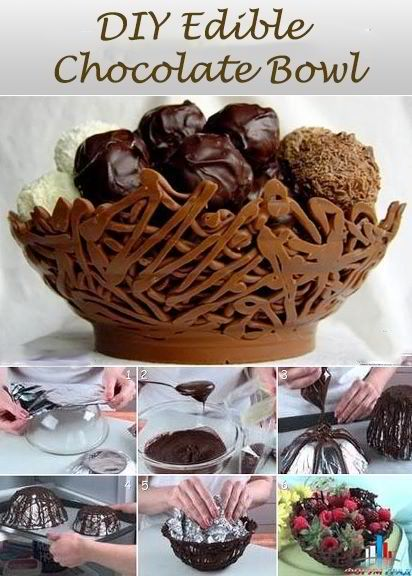 Make A Chocolate Bowl Filled With Chocolate Treats