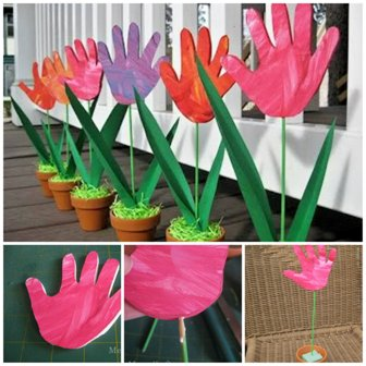 Spring Handprint Tulips Craft