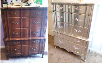 Aluminum (Silver) Leafed French Provincial Furniture.