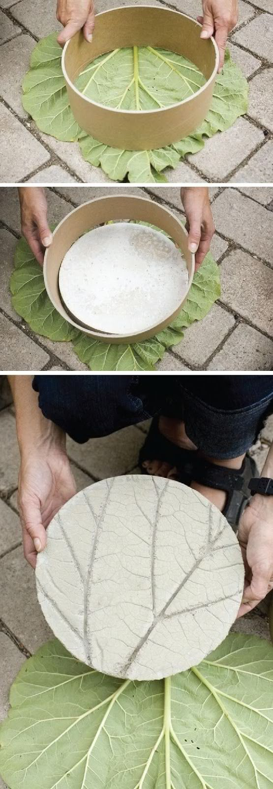 DIY Garden Stone that Looks Like a Leaf