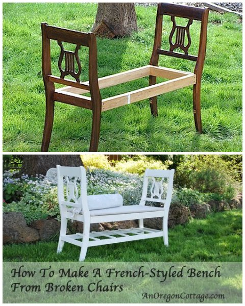 How To Make A French-Style Bench From Old, Broken Chairs
