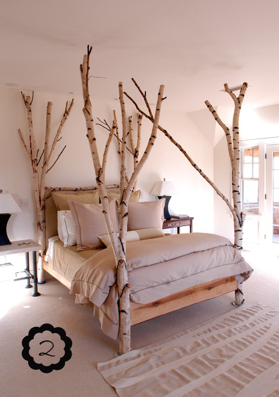 Make Bed Posts out of Tree Branches