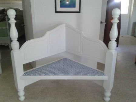 Make a Corner Bench out of Old Headboard