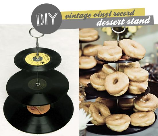 Vintage Vinyl Record Dessert Stand