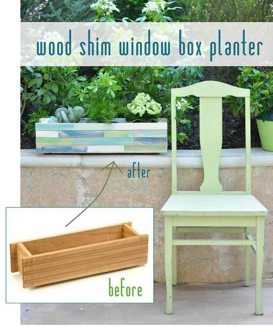 Wood Shim Window Box Planter