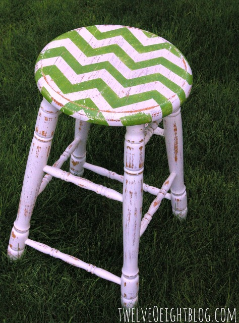 Chevron Painted Kitchen Stool