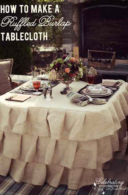 How to Make a Ruffles Burlap Tablecloth