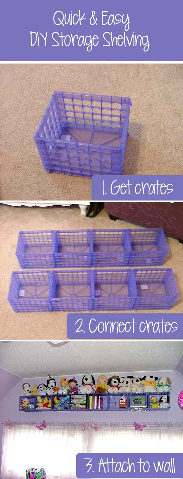 Make a Storage Shelf with plastic Crates!