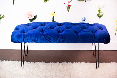 DIY Velvet Tufted Bench