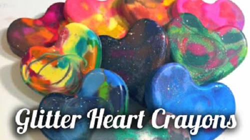 How To Make Glittered Heart Crayons