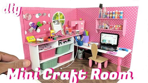 DIY Miniature Dollhouse Craft Room & Supplies