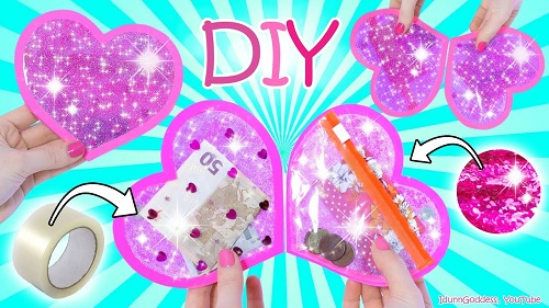 How To Make A Heart Wallet Out Of Clear Tape And Glitter